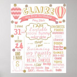Hot air balloon birthday board sign Girl pink Poster