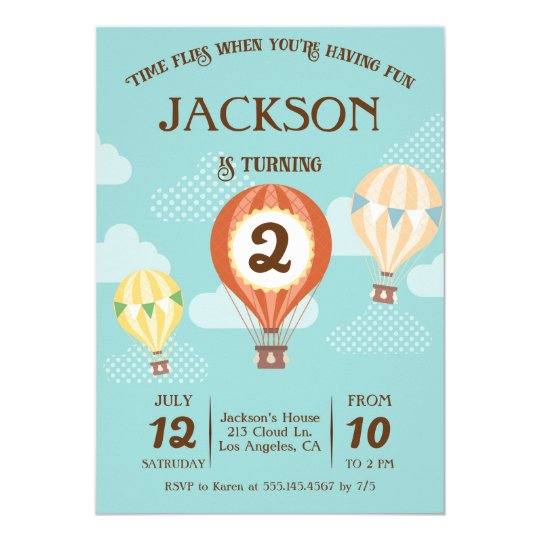 Hot Air Balloon Birthday Party Invitation