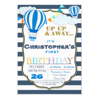 Hot Air Balloon Birthday Party Invitation, Card