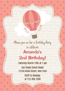 Hot air balloon birthday invitations announcements zazzle ca hot air balloon birthday party invitation pink filmwisefo