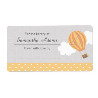 Hot Air Balloon Bookplate Label Sticker Shipping Label