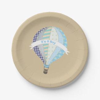 Hot Air Balloon Boy Baby Shower Paper Plate