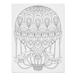 Hot Air Balloon Coloring Poster - Colorable Poster