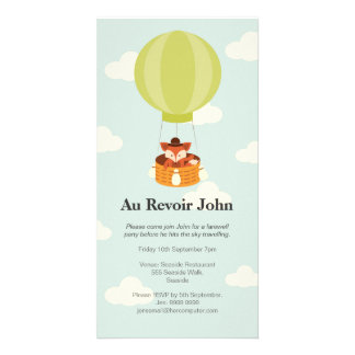 Hot Air Balloon Farewell Bon Voyage Party invite Picture Card