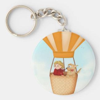 Hot air balloon girl and dog basic round button keychain