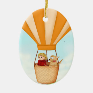 Hot air balloon, girl and dog ornament