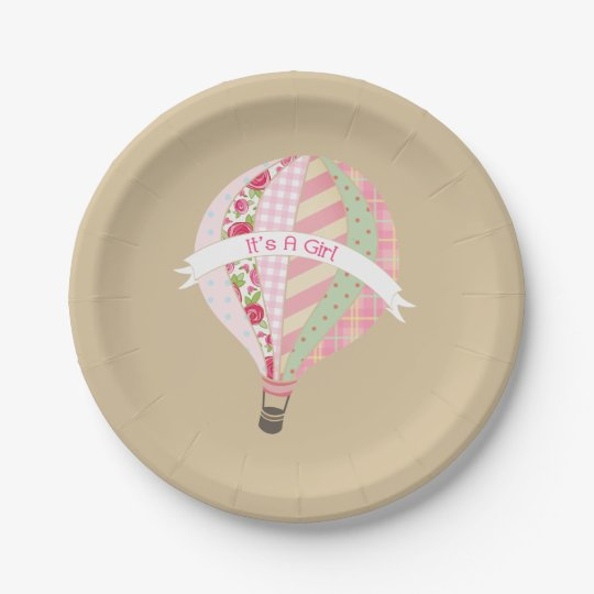 Hot Air Balloon Girl Baby Shower 7 Inch Paper Plate