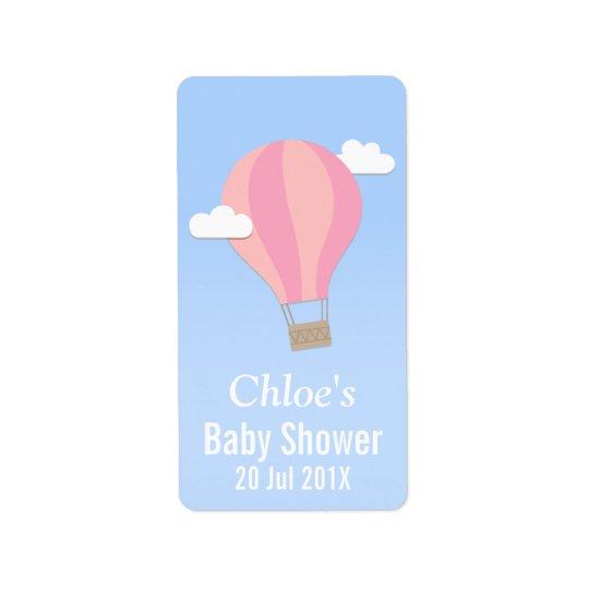 Hot Air Balloon, Girl Baby Shower Label