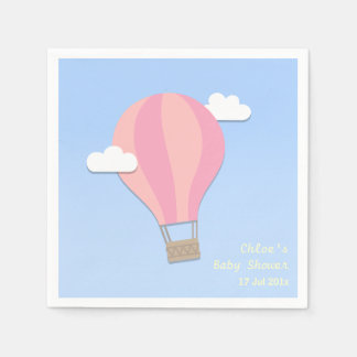Hot Air Balloon, Girl Baby Shower Paper Napkins