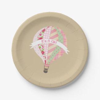 Hot Air Balloon Girl Baby Shower Paper Plate