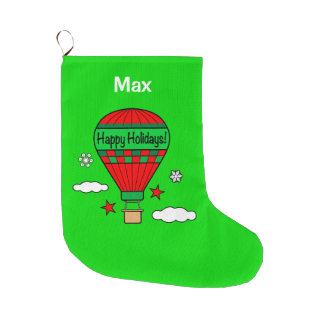 Hot-Air Balloon Happy Holidays! Large Christmas Stocking