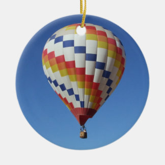 Hot Air Balloon in a Blue Sky Ceramic Ornament