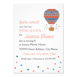Hot Air Balloon Kids Birthday Party Invitation