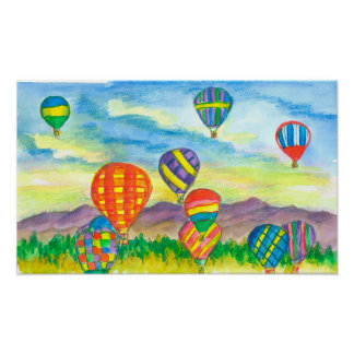 Hot Air Balloon Mountain Landscape Poster