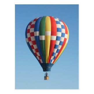 Hot air balloon multicolored postcard