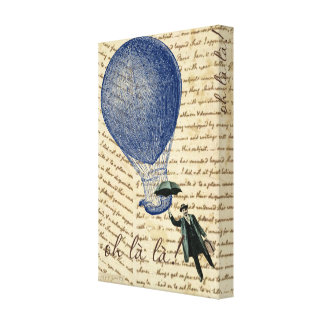 Hot Air Balloon on Handwriting Floating Man Canvas Print