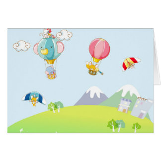Hot air balloon on pastel blue background. card