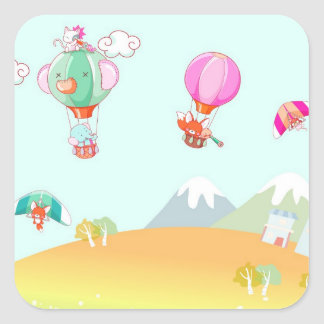Hot air balloon on pastel color background. square sticker