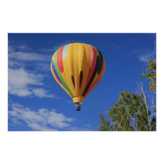 Hot Air Balloon over Quail Lake, Cheyenne Hills Poster