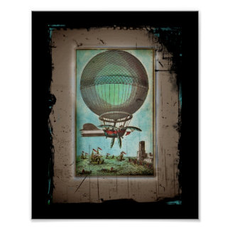 Hot Air Balloon Over the Harbor Poster