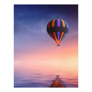 Hot Air Balloon over the Ocean at Sunset Letterhead