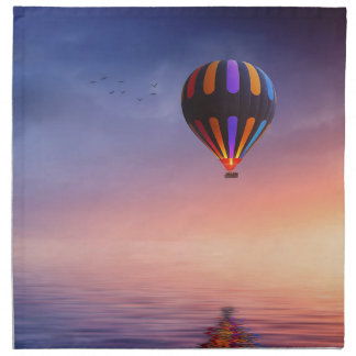 Hot Air Balloon over the Ocean at Sunset Napkin