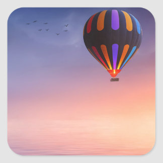Hot Air Balloon over the Ocean at Sunset Square Sticker