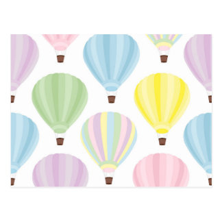 Hot Air Balloon Pastel Pattern Postcard