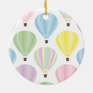 Hot Air Balloon Pastel Pattern Round Ceramic Ornament