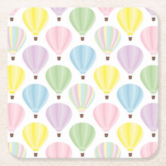 Hot Air Balloon Pastel Pattern Square Paper Coaster