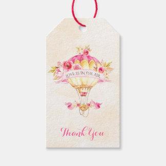 Hot Air Balloon Pink Gold Yellow Roses Arrow Gift Tags