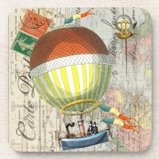 Hot Air Balloon Post Card Coaster