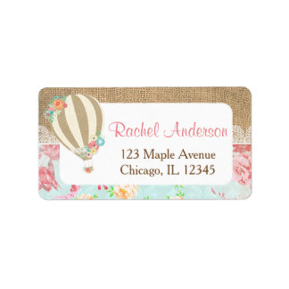 Hot air balloon return address labels, burlap lace