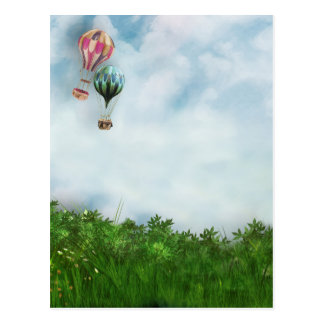 Hot air balloon scene postcard