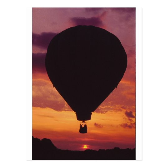 Hot Air Balloon silhouetted against a Sunset Postcard