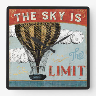 Hot Air Balloon Sky Is The Limit Quote Square Wall Clock