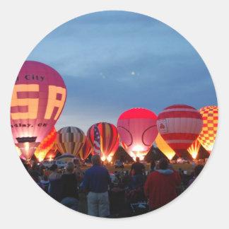 hot air balloon skyline classic round sticker
