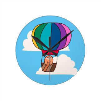 Hot Air Balloon Sloth Round Clock