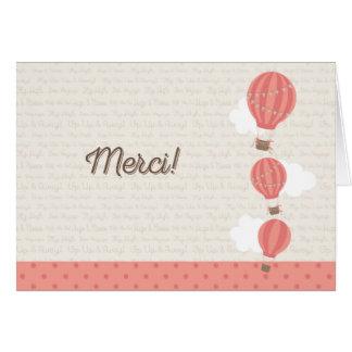 Hot Air Balloon Thank You Card Rustic
