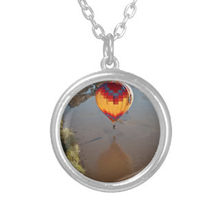 Hot Air Balloon Touching Rio Grande River Silver Plated Necklace