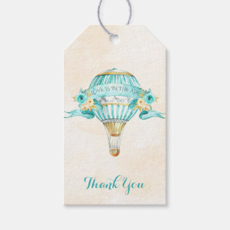 Hot Air Balloon Turquoise Gold Yellow Roses Arrow Gift Tags