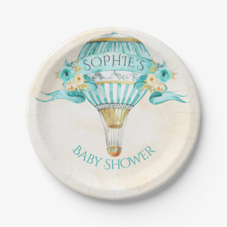 Hot Air Balloon Turquoise Gold Yellow Roses Paper Plate