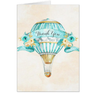 Hot Air Balloon Turquoise Yellow Arrows Roses Card