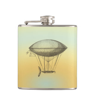 Hot air balloon vintage hip flask