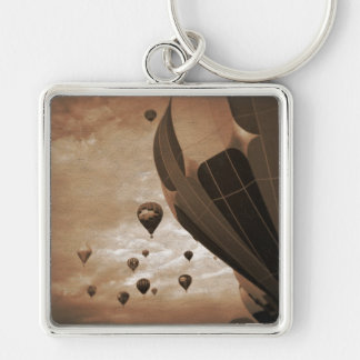 Hot Air Balloon Vintage Photograph Keychain