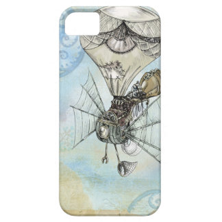 Hot Air Balloon Vintage Steampunk blue design iPhone 5 Cases