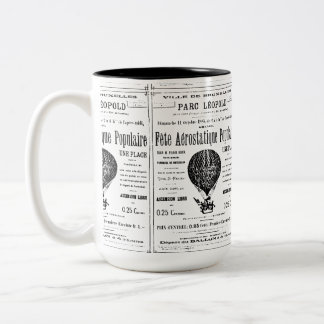Hot air balloon vintage Two-Tone coffee mug