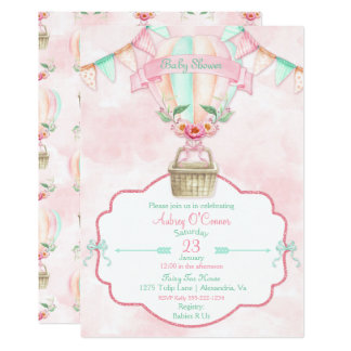Hot Air Balloon Watercolor Pink Mint Peach Card