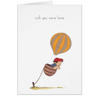 "hot air balloon ""wish you were here"" notecard cards"
