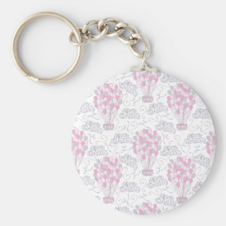 Hot air balloon with party balloons in pink keychain